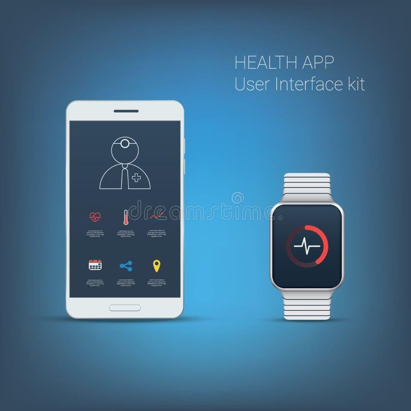 Kit d'interface utilisateurs d'application de santé Icônes pour illustration de vecteur