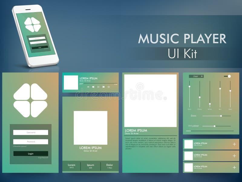 Kit d'interface utilisateurs de lecteur de musique avec Smartphone illustration de vecteur