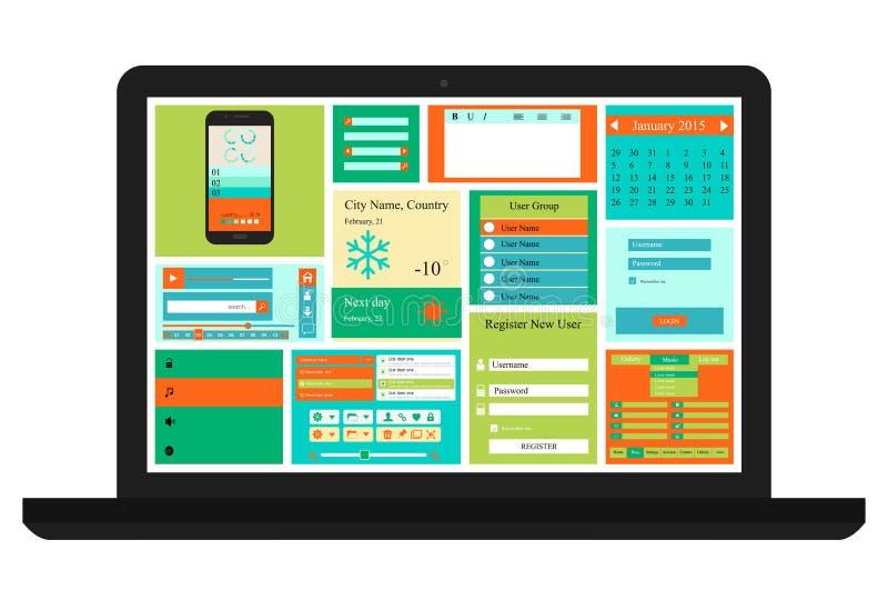 Kit d'ui d'ordinateur portable illustration stock