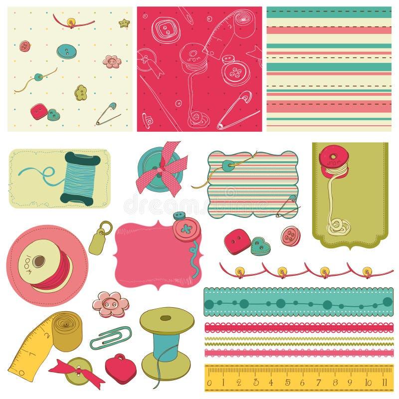 Kit de couture - éléments de conception pour scrapbooking illustration libre de droits