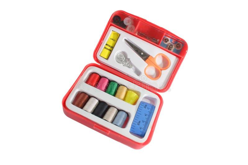 Kit de couture rouge photo stock