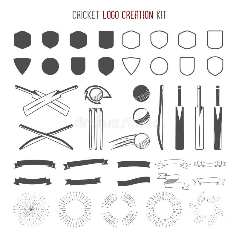 Kit de création de logo de cricket Conceptions de sports Graphismes réglés Créez vos propres symboles rapides de conception d'emb illustration stock