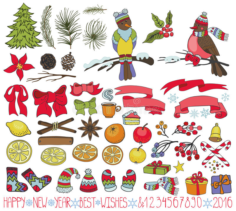 Kit de décoration de Noël Griffonnages avec des oiseaux illustration de vecteur