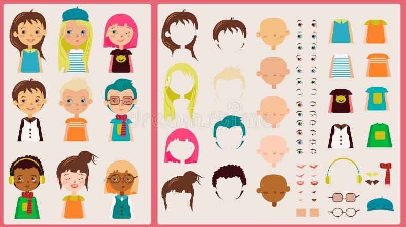 Kit de personnage de dessin animé pour la conception et l'illustration illustration stock