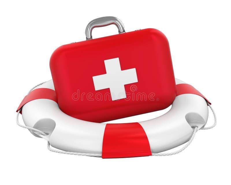 Kit de premiers secours dans la bouée de sauvetage d'isolement illustration stock