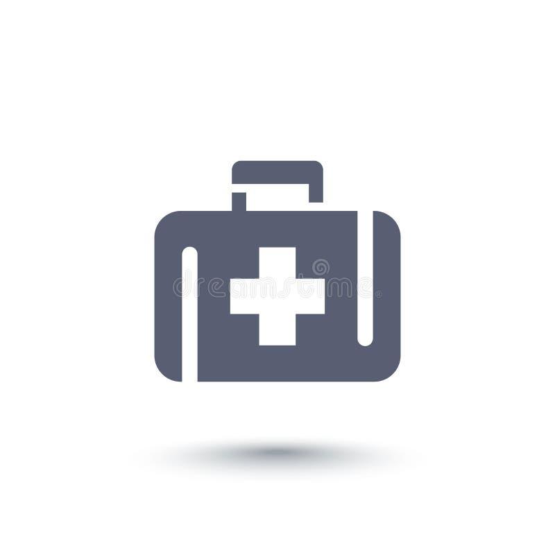 Kit de primeiros socorros, ícone da caixa de medicina ilustração stock