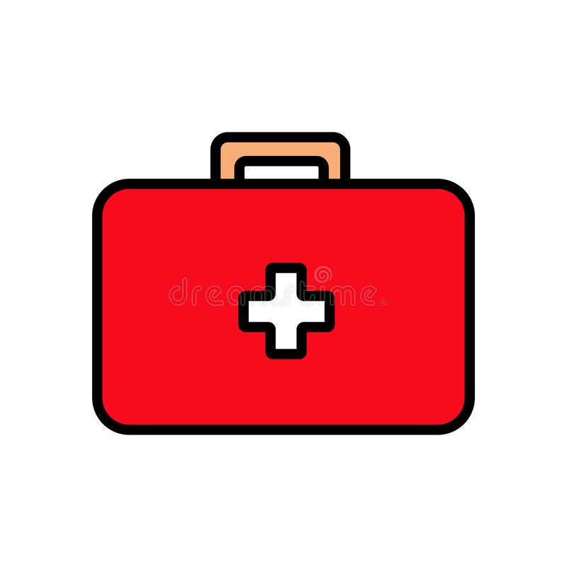 Kit de primeiros socorros retangular médico com medicinas, pasta para os primeiros socorros, ícone simples em um fundo branco Ilu ilustração stock