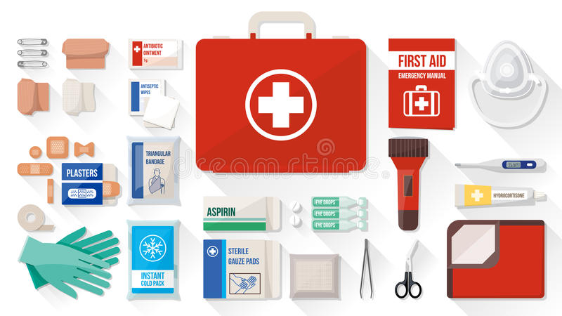 Kit de primeros auxilios ilustración del vector