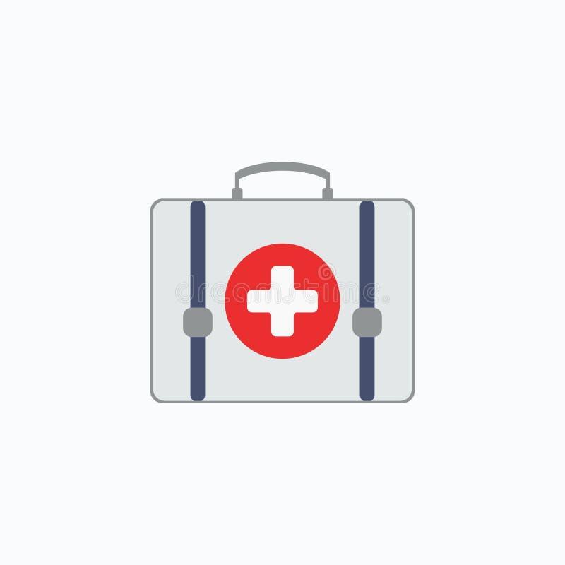 Kit de primeros auxilios aislado Salud, ayuda y concepto médico de los diagnósticos Ilustración del vector EPS 10 libre illustration