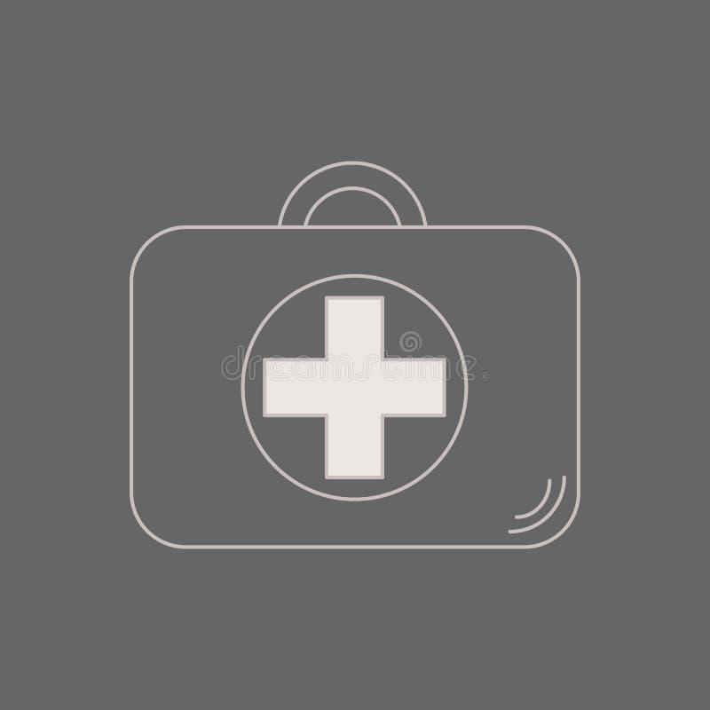 Kit de primeros auxilios Atención sanitaria, hospital y diagnósticos médicos Ejemplo en estilo plano Caso médico maleta de la rea stock de ilustración