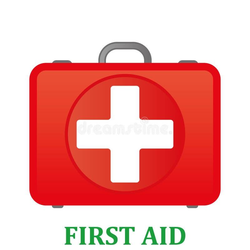 Kit de primeros auxilios Equipo de primeros auxilios del blanco aislado en fondo azul Salud, ayuda y concepto médico de los diagn stock de ilustración