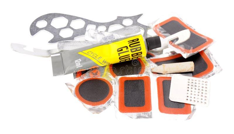 Kit de réparation de piqûre de pneu de bicyclette photos stock