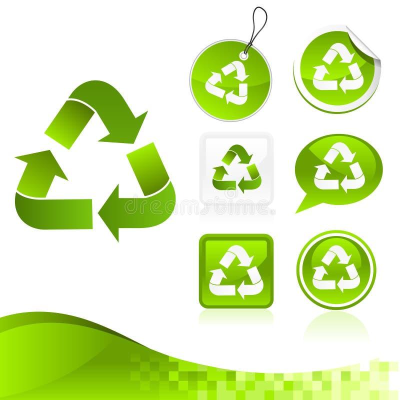 Kit de reciclaje verde del diseño stock de ilustración