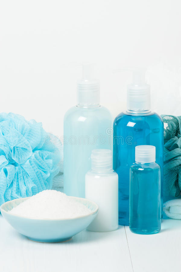 Kit de station thermale Shampooing, barre de savon et liquide Gel de douche Aromatherapy photos libres de droits