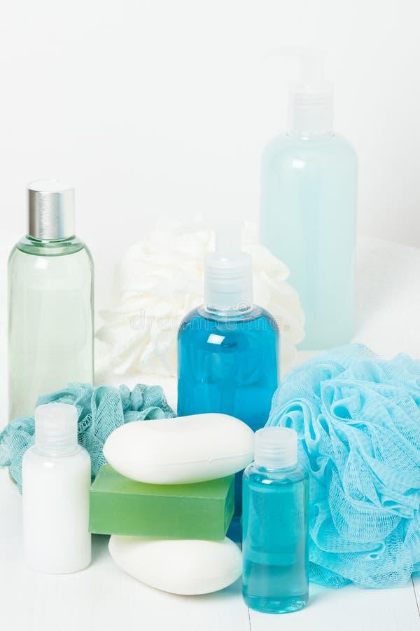Kit de station thermale Shampooing, barre de savon et liquide Gel de douche Aromatherapy photographie stock