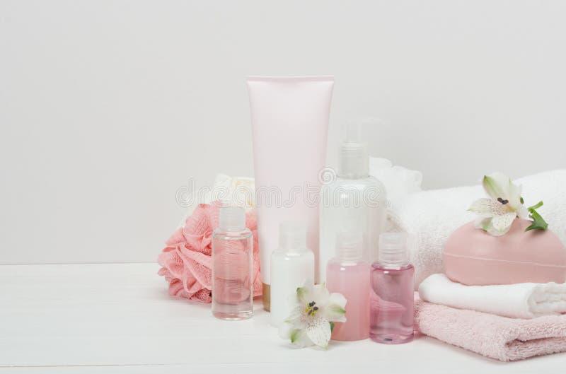 Kit de station thermale Shampooing, barre de savon et liquide toiletries photographie stock