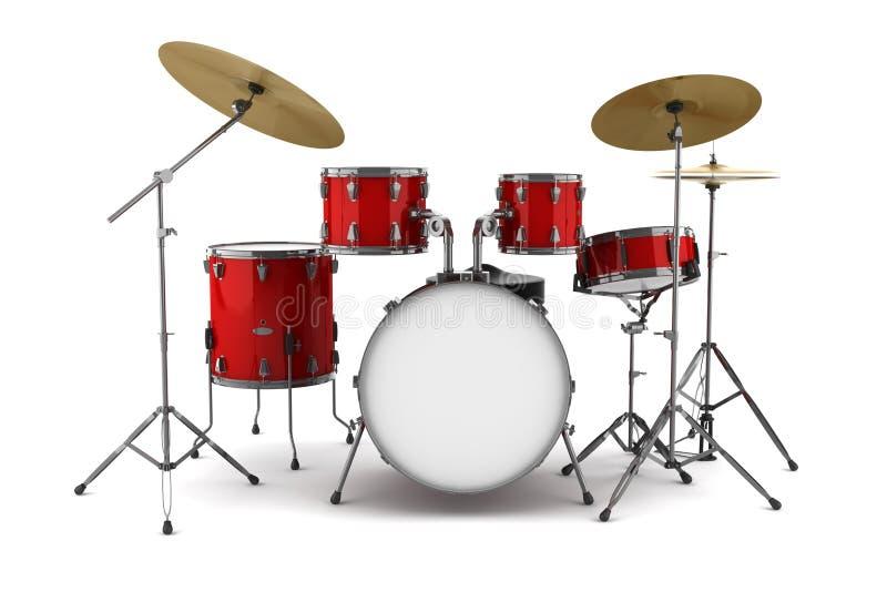 Kit de tambour rouge d'isolement sur le blanc illustration libre de droits