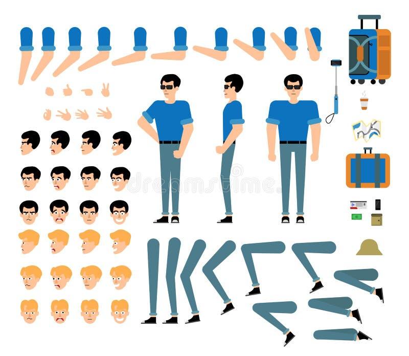 Kit de touristes de création de caractère masculin - ensemble d'isolement de parties du corps, couleurs de cheveux, gestes de mai illustration stock