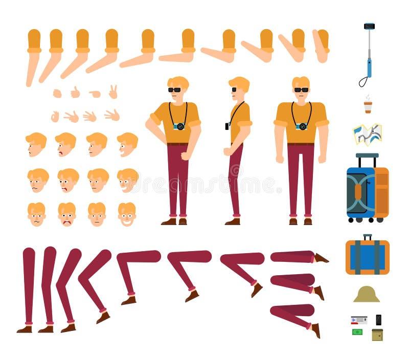 Kit de touristes de création de caractère masculin - ensemble d'isolement de parties du corps, de gestes de main, d'émotions de v illustration de vecteur