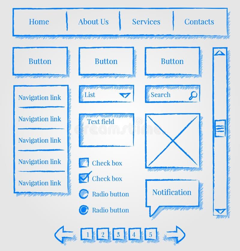 Kit de type de croquis de conception de site Web illustration libre de droits