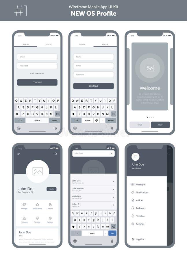 Kit de Wireframe pour le téléphone portable APP mobile UI, conception d'UX Nouveau profil d'OS illustration de vecteur