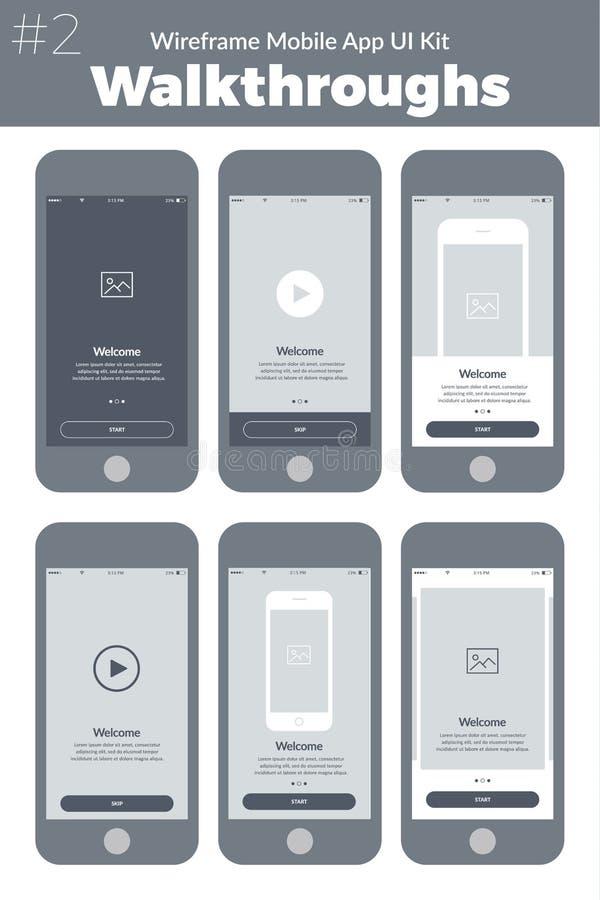 Kit de Wireframe UI pour le téléphone portable Écrans mobiles de revues du projet d'APP illustration libre de droits