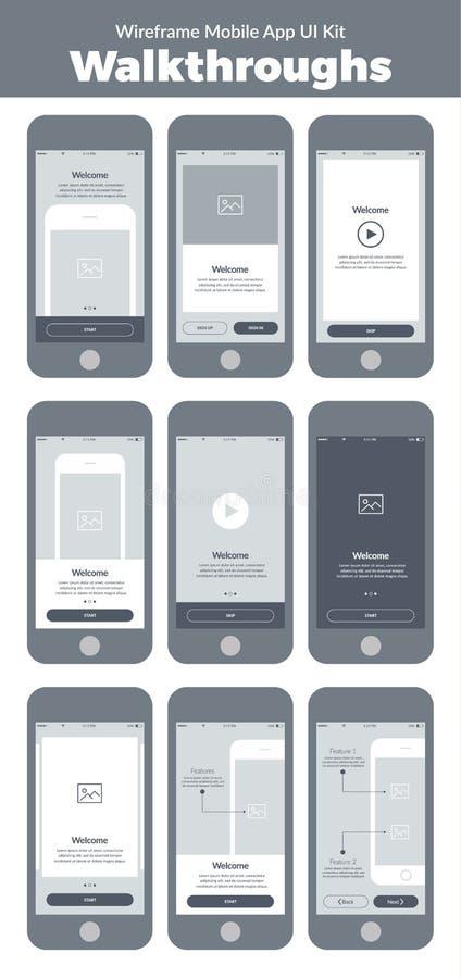 Kit de Wireframe UI pour le téléphone portable Écrans mobiles de revues du projet d'APP illustration de vecteur