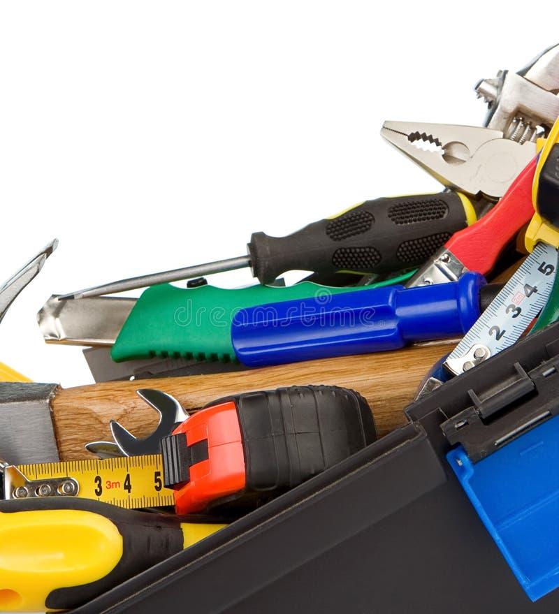 Kit degli strumenti e degli strumenti isolati su bianco fotografia stock