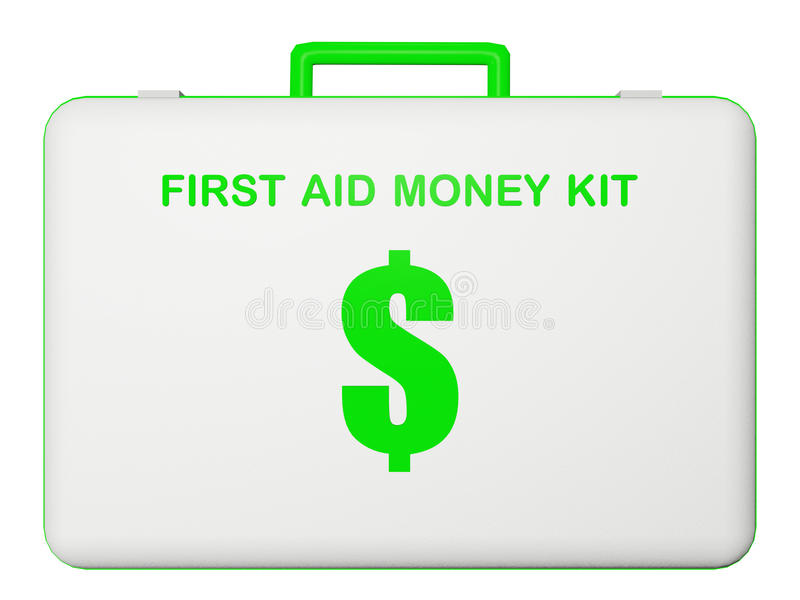 Kit del dinero de los primeros auxilios (dólar). imagen de archivo