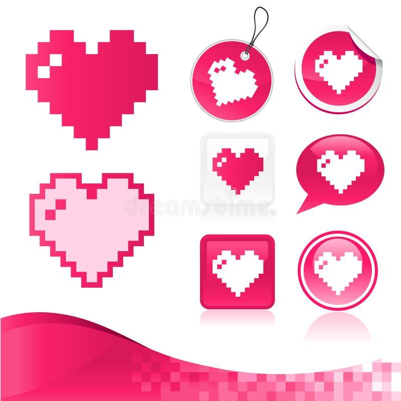 Kit del diseño del corazón del pixel stock de ilustración