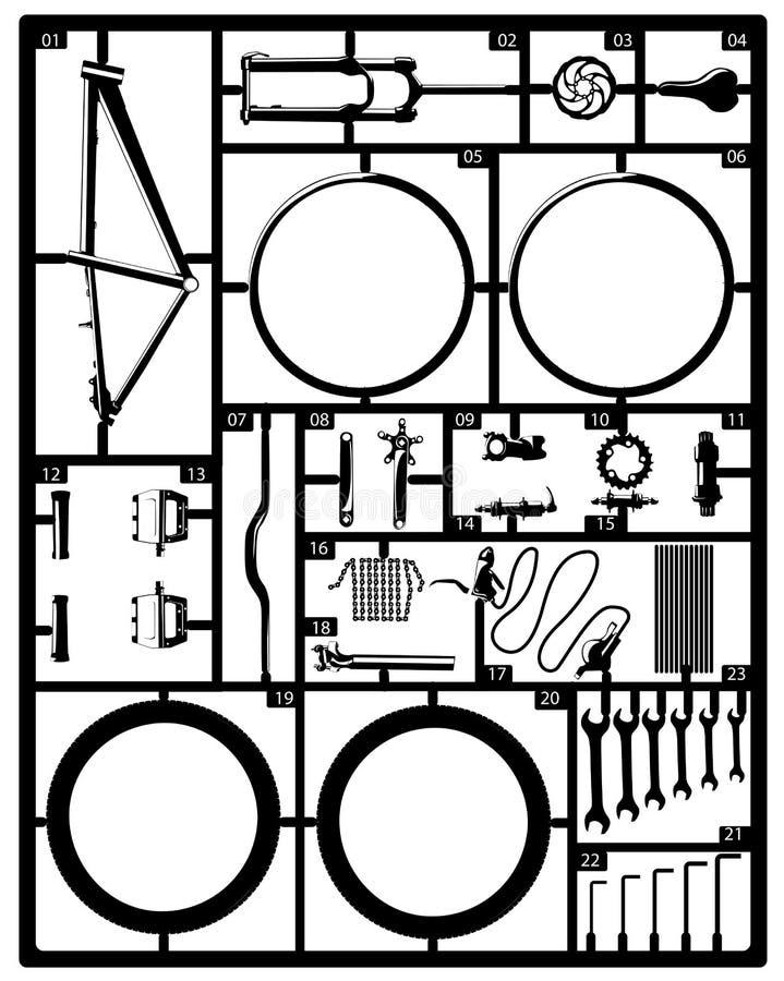 Kit di modello di plastica della bici di salto della sporcizia della montagna royalty illustrazione gratis
