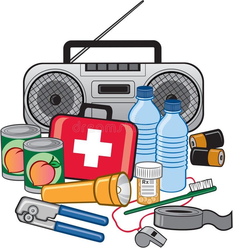 Kit di preparazione di sopravvivenza di emergenza illustrazione vettoriale
