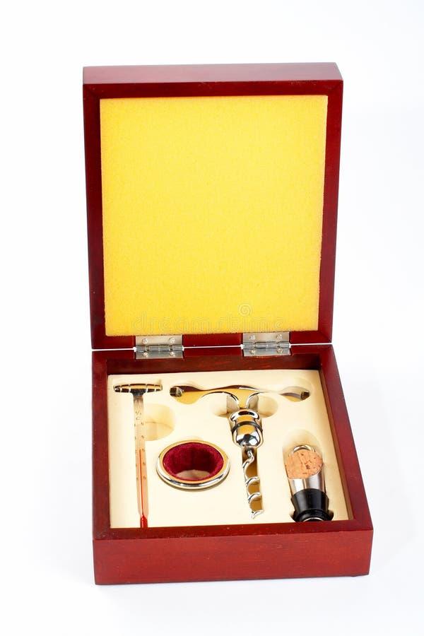 Kit di strumenti di apertura del vino fotografia stock