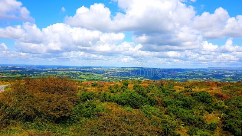 Kit hill Cornwall looking towards North Devon. Hiking, walking, travel, exploring stock image