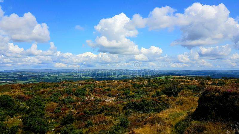 Kit hill Cornwall looking towards North Devon. Hiking, walking, travel, exploring stock photography