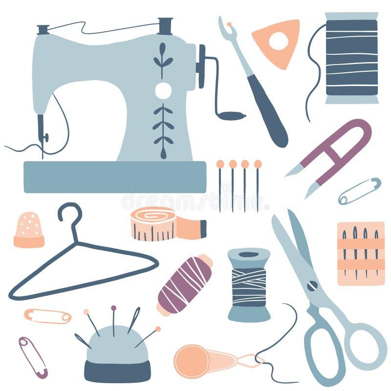 Kit Icons Set feito a mão: máquina de costura, tesouras, linha, agulhas ilustração royalty free