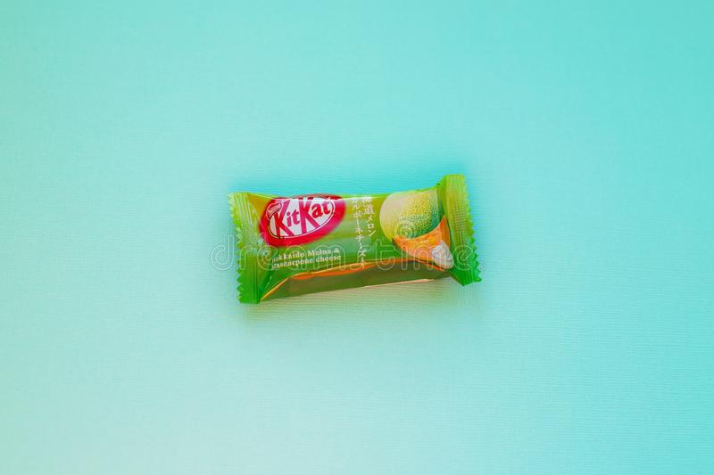 Kit-kat chocolate with japanese flavor Hokkaido Melon. Kit Kat is a chocolate-covered wafer bar confection created by Rowntree`s of York, United Kingdom, and is stock image