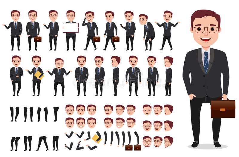 Kit masculin de création de caractère de vecteur d'homme d'affaires ou de bureau Ensemble de caractères prêts à employer illustration de vecteur