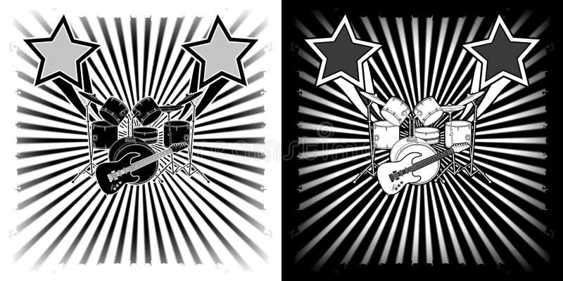 Kit musical de tambour de fond et clipart blanc noir de guitare illustration stock