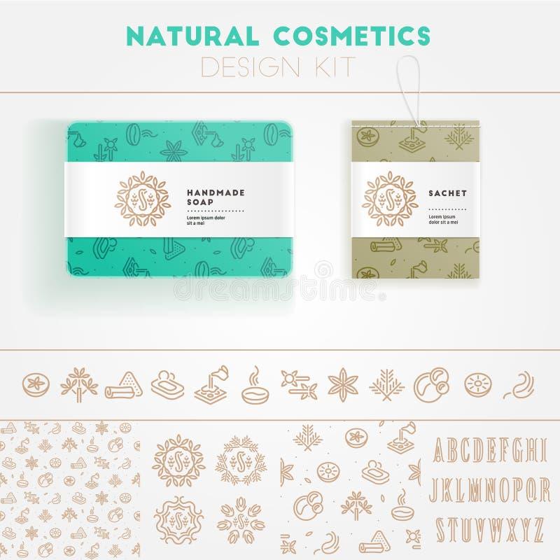 Kit naturel de conception de cosmétiques illustration stock