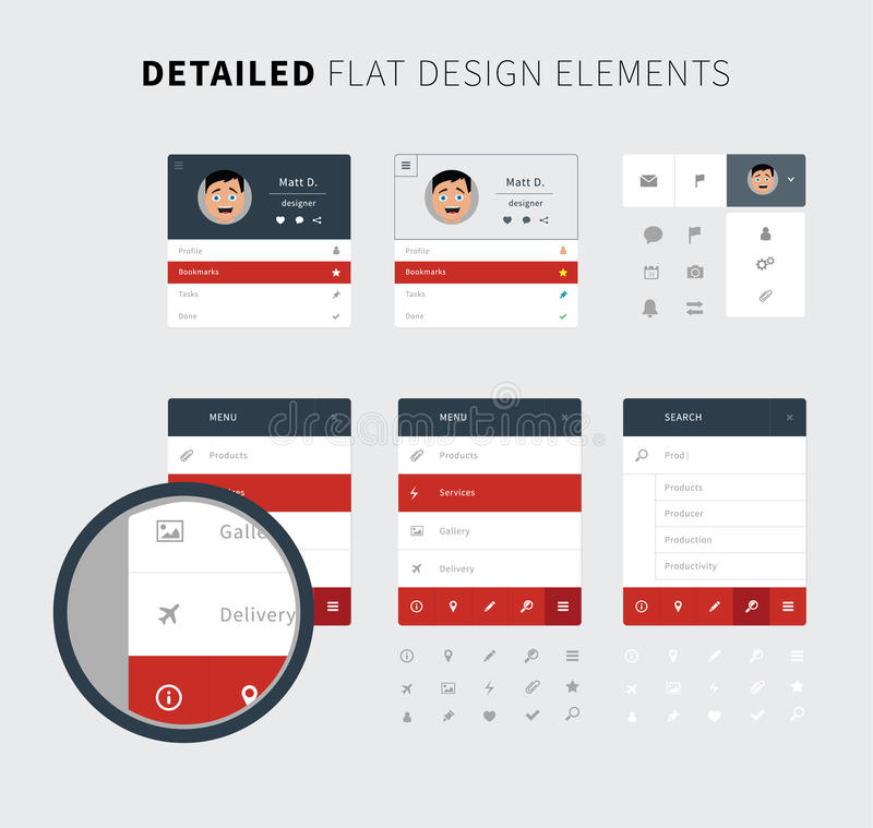 Kit réglé d'ui de conception plate pour le Web illustration de vecteur