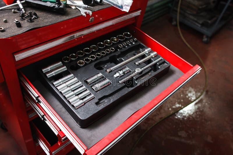 Kit of repairing tools in workshop royalty free stock images