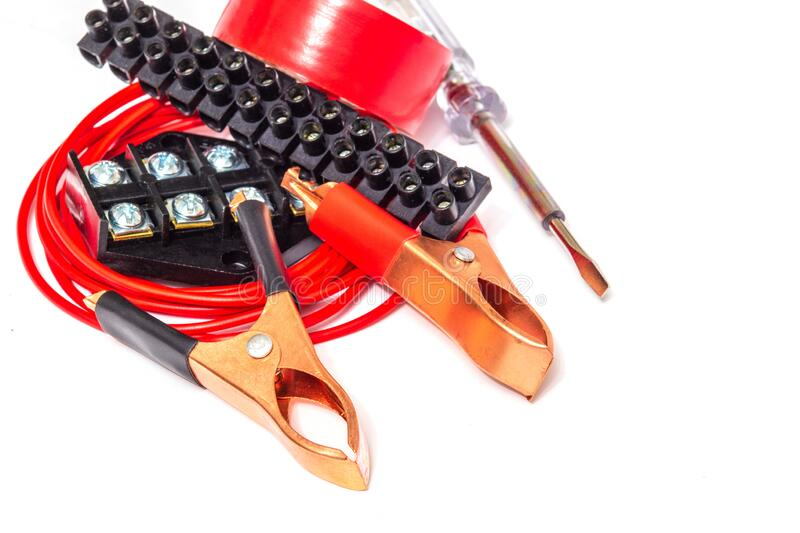 Kit spare parts and tools for electrical repairs in home or office stock photo