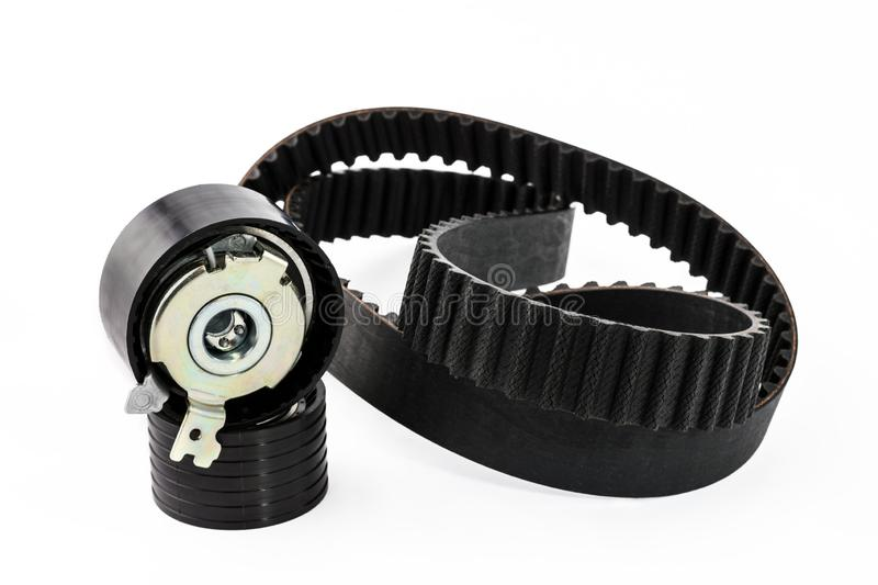 Kit of timing belt with rollers on a white background stock photography