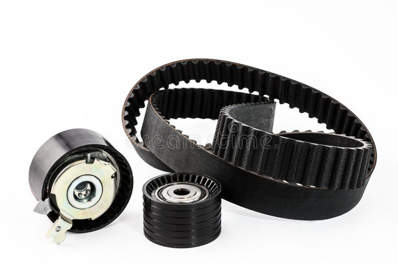 Kit of timing belt with rollers on a white background stock photo