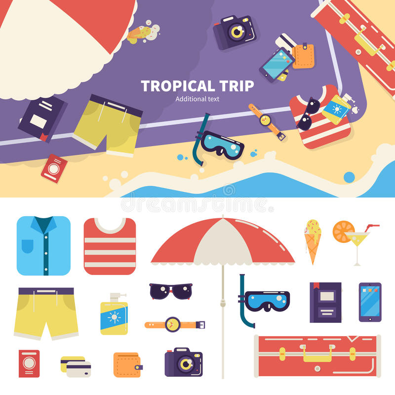 Kit for tropical trip on sand royalty free stock photos