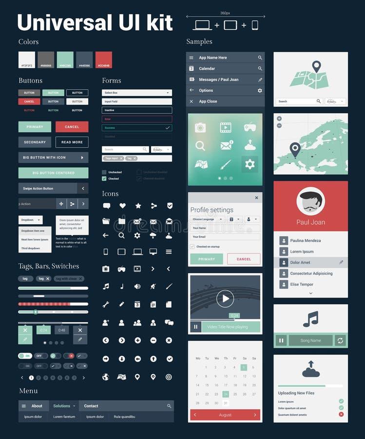Kit universel d'interface utilisateurs pour les sites Web sensibles modernes et les apps mobiles illustration de vecteur