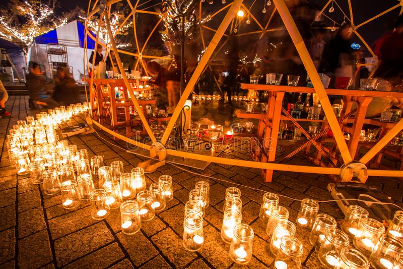 Kitakyushu, Japon - 19 novembre 2016 : nuit de bougie au port de Mojiko dans Kitakyushu, préfecture de Fukuoka, Japon photo stock