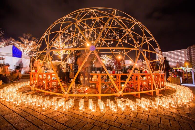 Kitakyushu, Japon - 19 novembre 2016 : nuit de bougie au port de Mojiko dans Kitakyushu, préfecture de Fukuoka, Japon photos stock