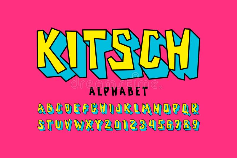 Kitch style font. Pop art alphabet letters and numbers stock illustration
